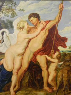After Rubens, Venus & Adonis, oil on canvas