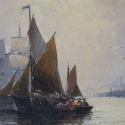 William Thornley, Busy Port Scenes, oil on panel