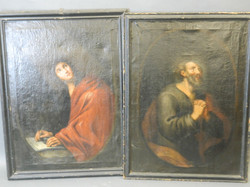 Late C18th Continental,  a pair of Saints, oil on canvas