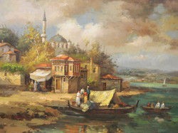 C19th, Turkish Riverside, oil on canvas
