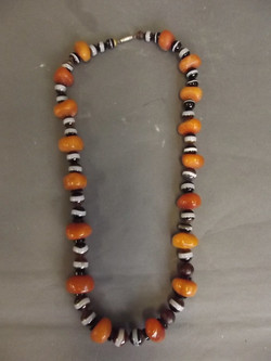 Agate, Amber, Horn Beaded Necklace