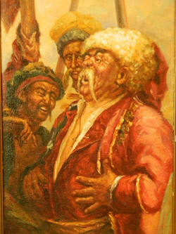 C19th Russian, Jovial Cossacks, oil on canvas