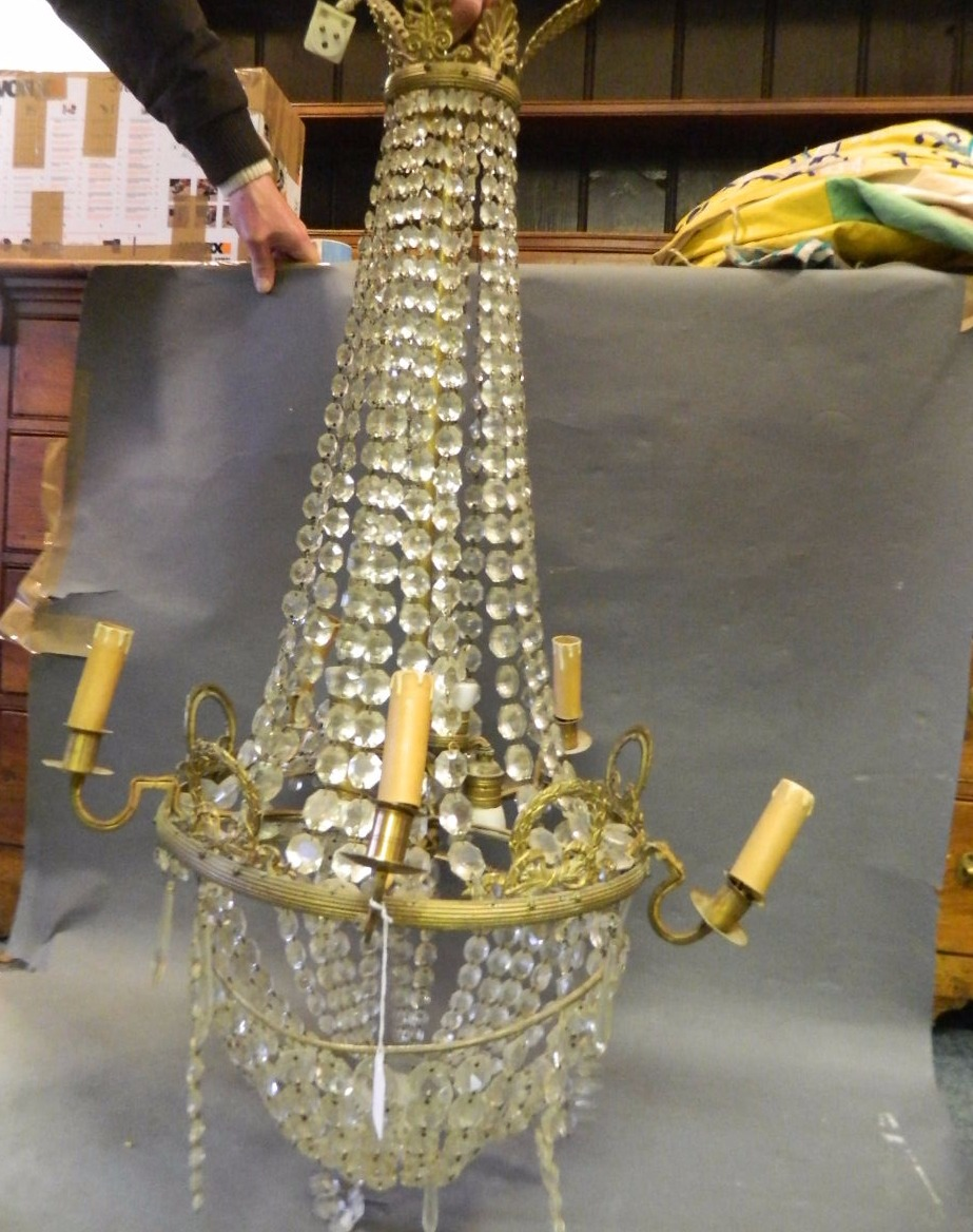 Ormolu and crystal chandelier