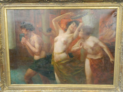 C19th, Bacchanalian Scene, oil on canvas