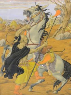 W. Peiner, Portrait of a Mongol, gouache