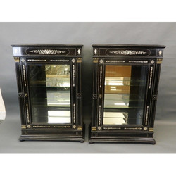 Pair of C19th Pier Ebonised Cabinets
