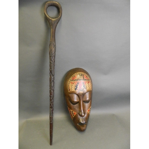 African Mask and Walking Stick