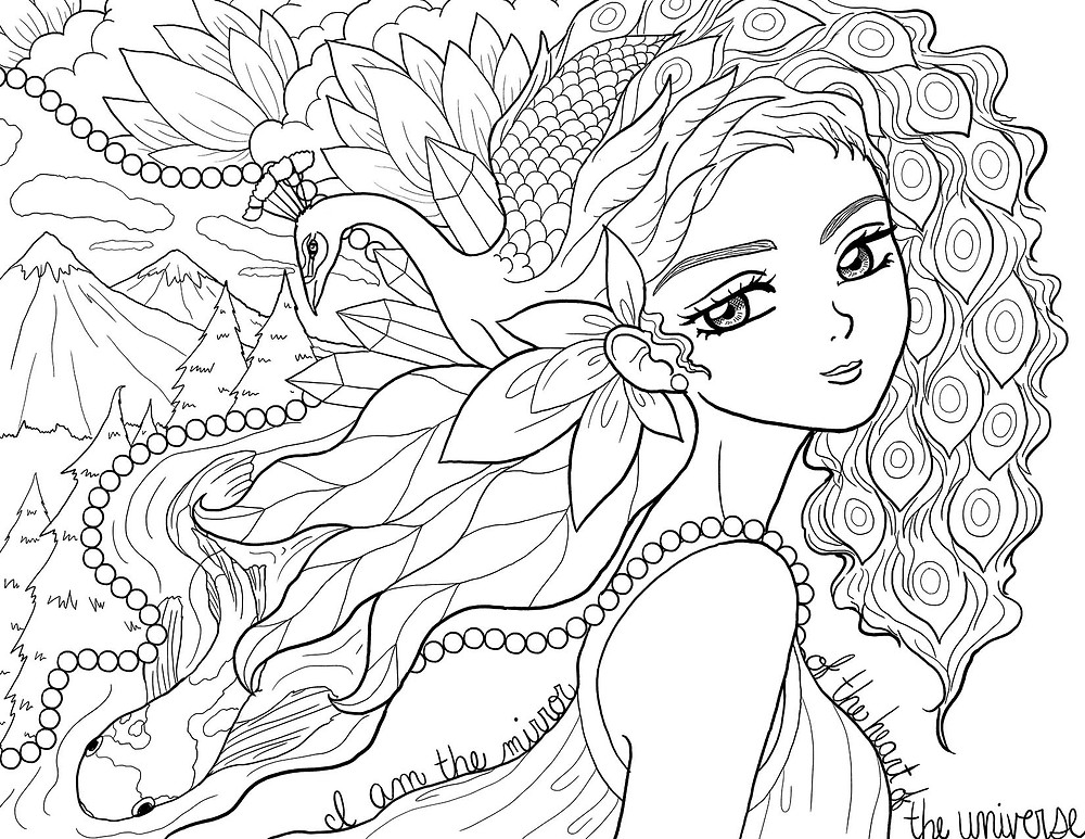 Ms Moon Allison Carpenter free color therapy coloring page