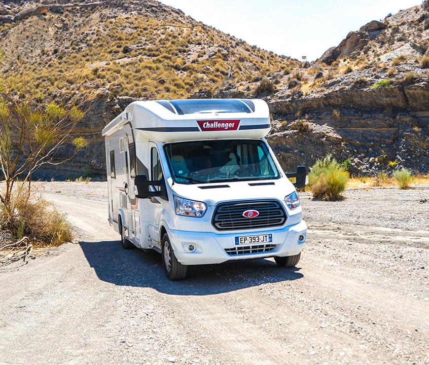 Notre Challenger 396 dans le désert de Tabernas