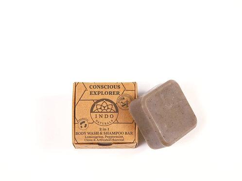 Conscious explorer- 2i1 probiotisk shampoo og kropsvask stykke fra Indo Naturals