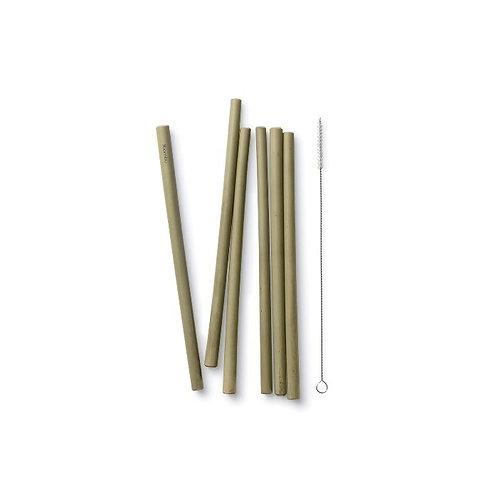 Økologiske bambu sugerør 6-stk + sisal børste