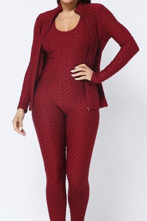 Honeycomb jumpsuit w/ jacket