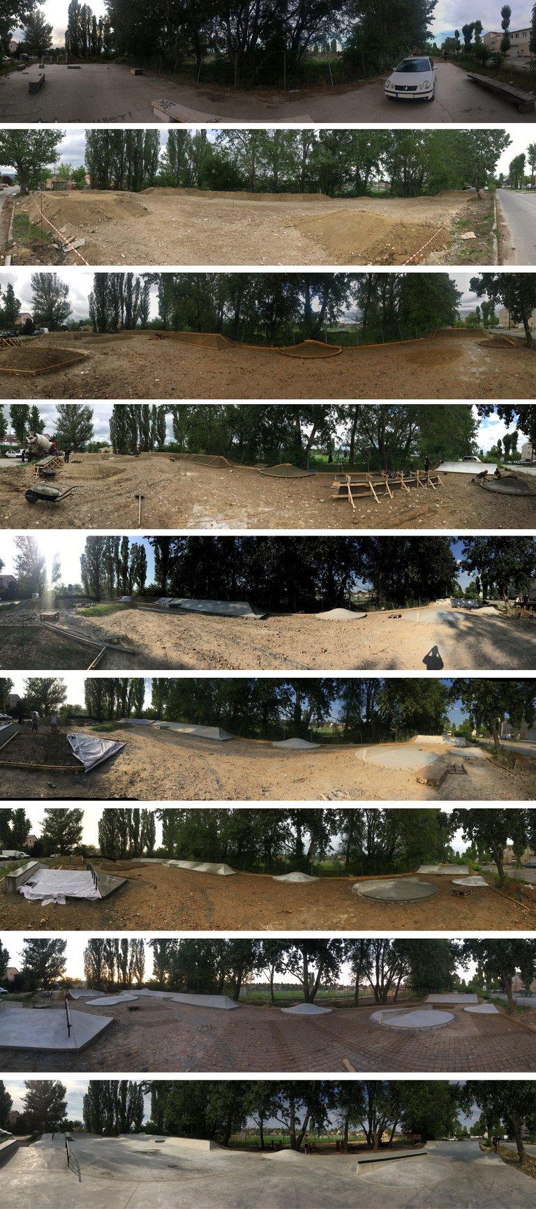 Szentendrei Skatepark építési stádiumai, amelyben többek között Barna Ádám és Takács Levente is részt vettek   Smirgli