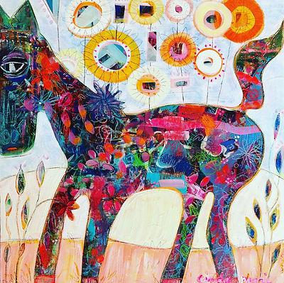 Calico horse 25 1_2 x 25 1_2 framed on w