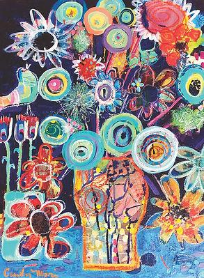 Crazy blooms 19 1_4 x 24 1_4 framed on w