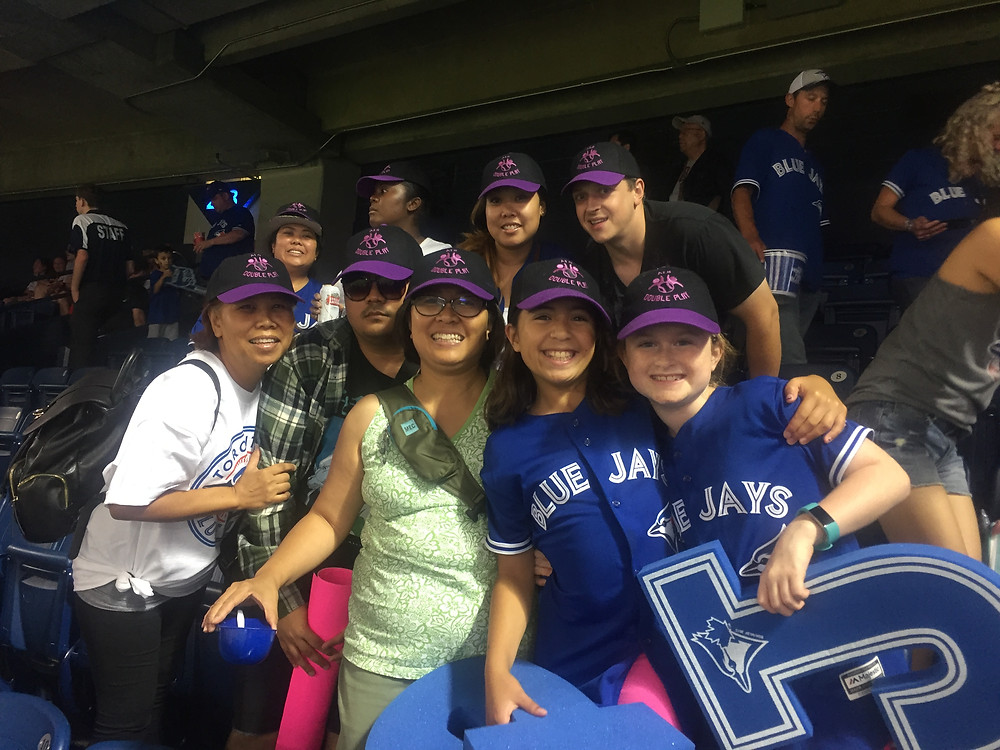 group of friends at the Blue Jays Game