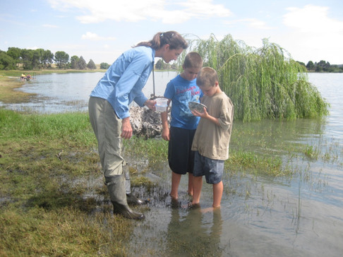 Dr. Sara Brant taking a break from snail collecting to find dragonfly naiads with local children