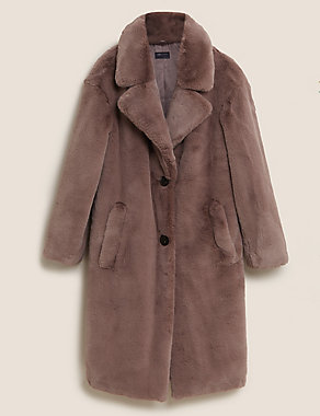 Faux Fur Taupe Coat M&S