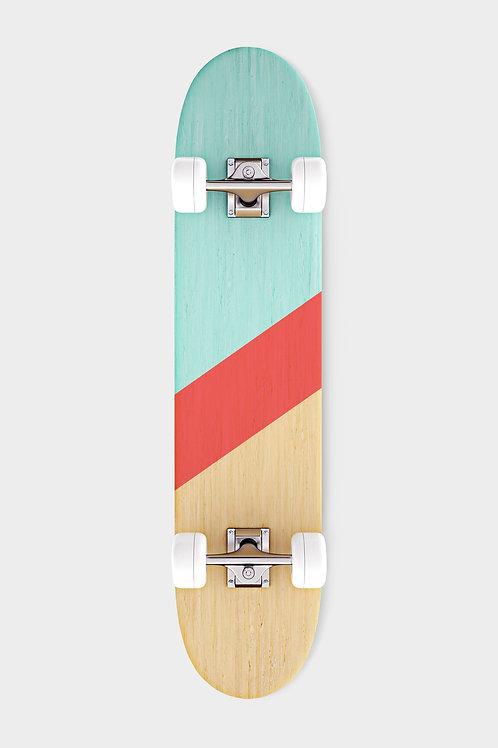 green red skateboard bottom with white wheels