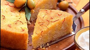 SOUR CREAM CAKE WITH SAFFRON ORANGE GLAZE