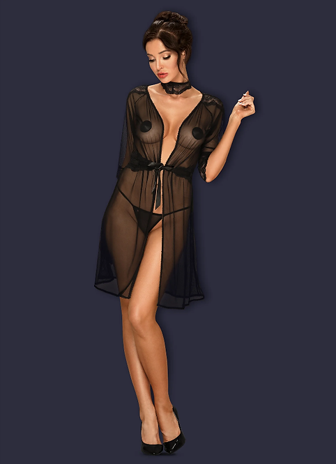 Lucita black peignoir and lace choker