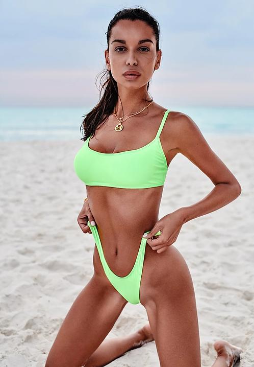 Mexico beach daring neon green bikini