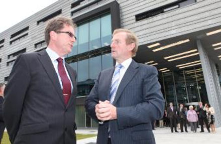 An Image of Enda Kenny at the opening of the Engineering Building in 2011