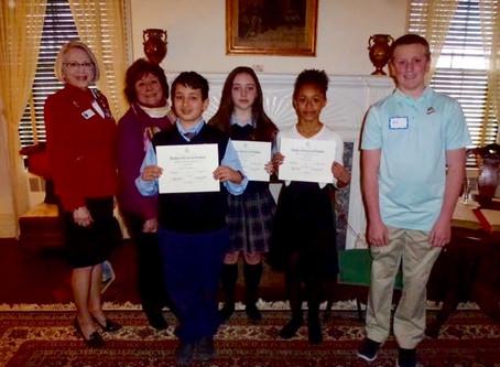 American History Essay Winners Honored at George Washington Tea Meeting