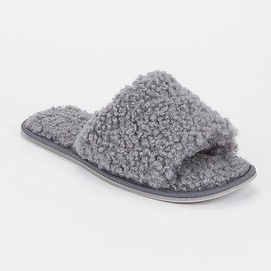 Grey Teddy Fur Open Toe Mule