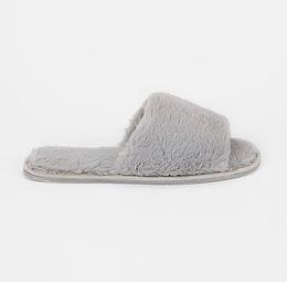 Grey Faux Fur Open Toe Mule