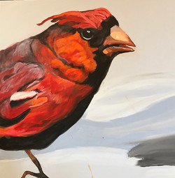 Jamie Downs - Male Cardinal 2 - Mixed Media on Canvas