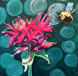 Jamie Downs - Bee Series 8 - Mixed Media on Canvas