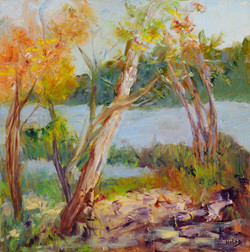 Cathy Hirsh - By the River - oil on canvas