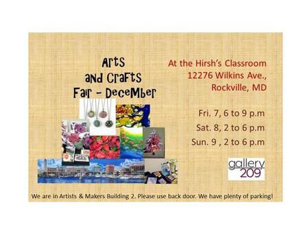 Gallery 209 December 2018 Arts & Crafts Fair