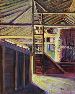 Ann Schaefer - Old Barn Light Pouring In - oil