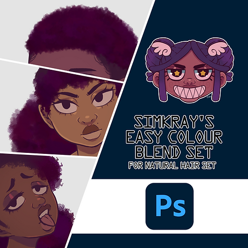 Simkray's 8 Easy Colour Blend Hair Set For Photoshop