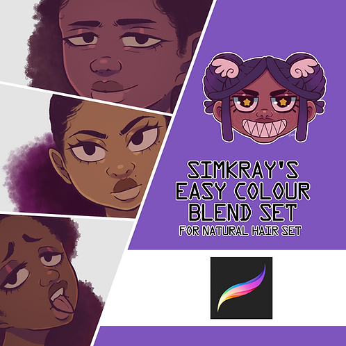Simkray's 8 Easy Colour Blend Hair Set For Procreate