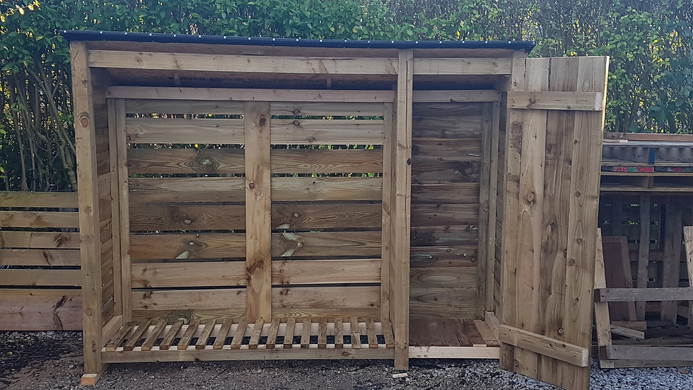 Large Bespoke log-store with storage compartment