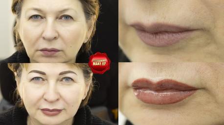 Две зоны перманентного макияжа.До и после.