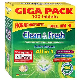 Clean&Fresh Таблетки для посудомоечных машин All in1 100шт.