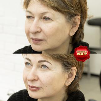 Перманентный макияж пудровые брови и губ