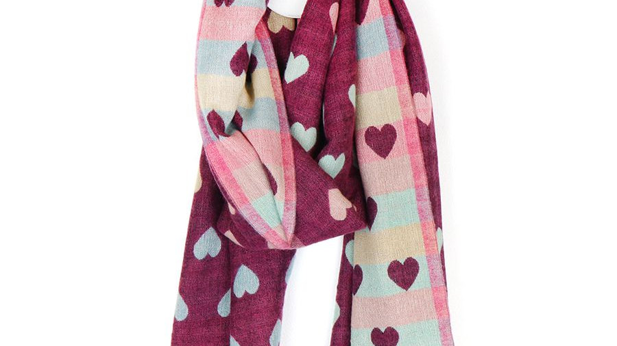 POM REVERSIBLE HEART SCARF CHERRY