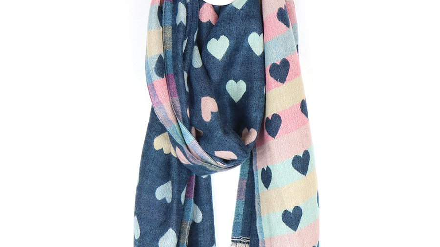 POM REVERSIBLE HEART SCARF BLUE & PINK