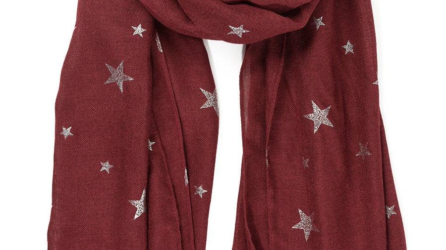 MSH BURGUNDY STAR SCARF