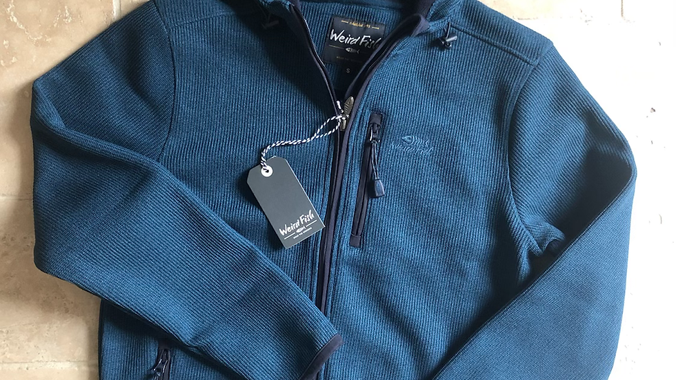 Weirdfish mens Lockie full zip hooded fleece, storm blue