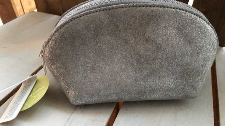 Leather Pouch Bag Silver