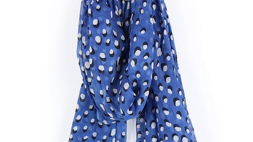 POM BLUE & WHITE DOT SCARF