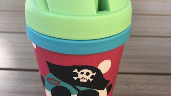 KIDS BAMBOO FRIENDS BOTTLE PIRATE ON RED