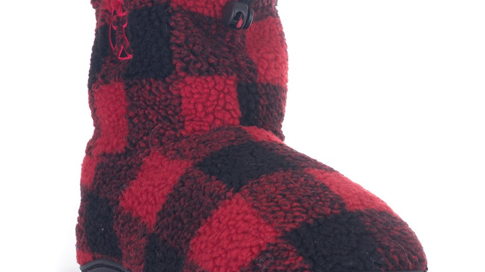 BEDROOM ATHLETICS MENS SHERPA RED CHECK SLIPPER BOOTS