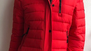 SUPERDRY RED HOODED COAT WITH REMOVABLE FAUX FUR HOOD